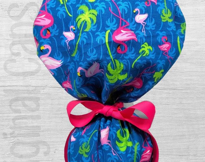 "Flamingos on Blue Design Ponytail Scrub Cap for Women, Scrub Hat, Surgical Hat ""Jazy"", Surgical Caps"