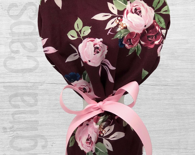"Large Roses with Burgundy Background Design Ponytail Scrub Cap for Women, Scrub Hat, Surgical Hat ""Mari"""