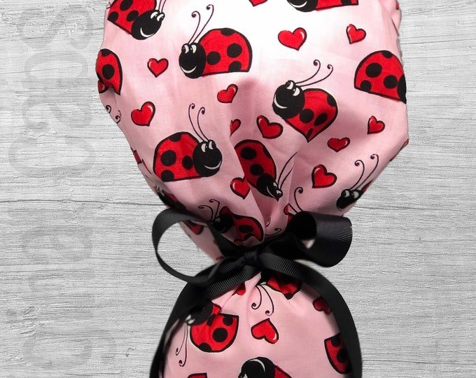 """Ladybugs and Hearts on Pink Design Ponytail Scrub Cap for Women, Scrub Hat, Surgical Hat """"Kiwi"""", Surgical Caps"""