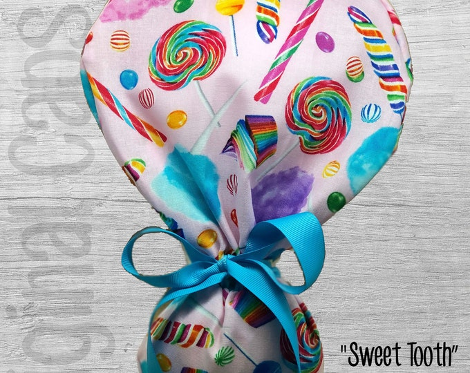 """Candy and Cupcakes Print Ponytail Scrub Cap, Ponytail Scrub Hat, Surgical Caps, Scrub Hats """"Sweet Tooth"""", Surgical Caps"""