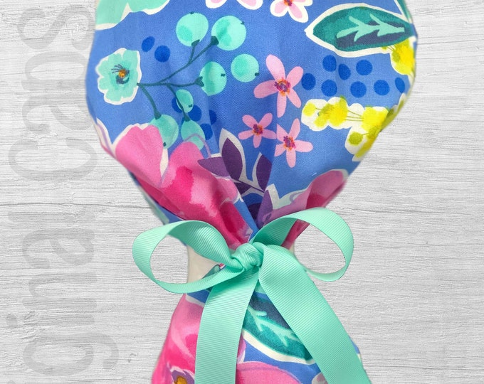 """Blue and Pink Floral Design Ponytail Scrub Cap for Women, Scrub Hat, Surgical Hat """"Judy"""""""