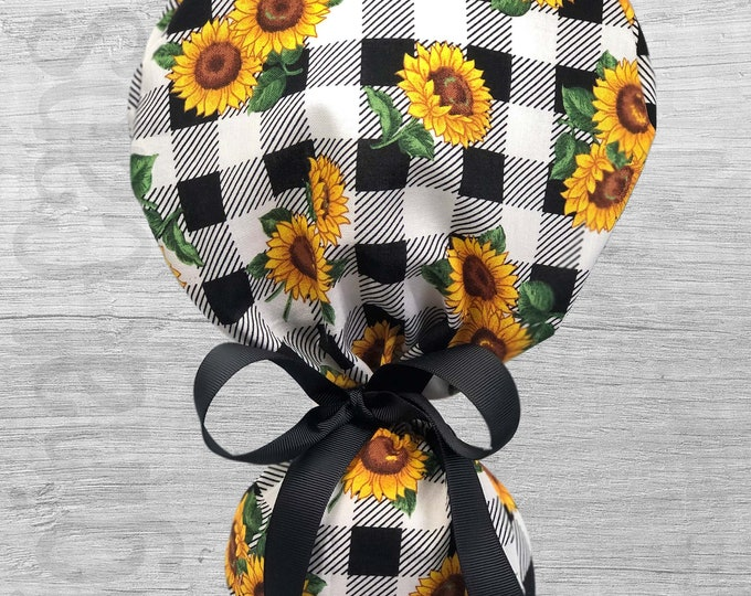 """Sunflowers on Buffalo Check Ponytail Scrub Cap for Women, Scrub Hat, Surgical Hat """"Andi"""", Surgical Caps"""