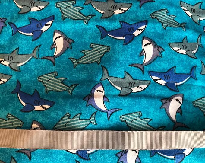 "Sharks on Blue  Print Ponytail Scrub Cap, Ponytail Scrub Hat, Surgical Caps, Scrub Hats ""Bleu"", Surgical Caps"