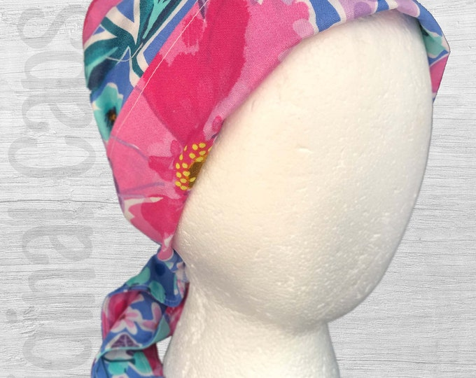 """Bright Pink and Turquoise Muted Flowers Scrub Cap, Surgical Cap, Scrub Hat """"Judy"""""""