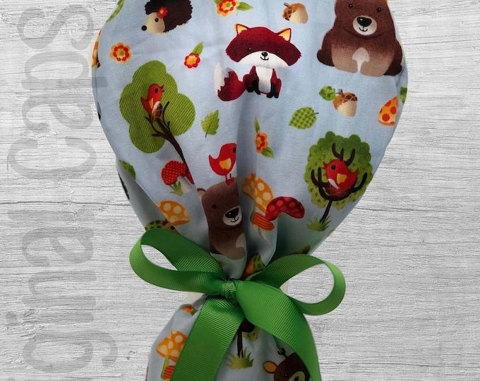 "Forest Friends Ponytail Scrub Cap for Women, Scrub Hat, Surgical Hat ""Aubrey"", Surgical Caps"
