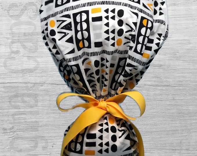"Black, Yellow, Grey Tribal Block Design Ponytail Scrub Cap for Women, Scrub Hat, Surgical Hat ""Gia"", Surgical Caps"