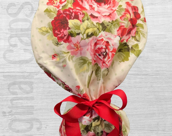 """Red and Pink Roses on Cream Design Ponytail Scrub Cap for Women, Scrub Hat, Surgical Hat """"Bridget"""", Surgical Caps"""