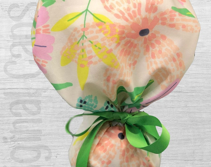 """Pastel Brushstroke Floral Ponytail Scrub Cap for Women, Scrub Hat, Surgical Hat """"Shelby"""", Surgical Caps"""