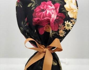 "Cottage Rose Print Ponytail Scrub Cap for Women, Scrub Hat, Surgical Hat ""Anne"""
