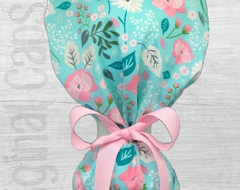 """Pink, Teal, and White Flowers and Leaves on Light Blue Design Ponytail Scrub Cap for Women, Scrub Hat, Surgical Hat """"Bella"""", Surgical Caps"""