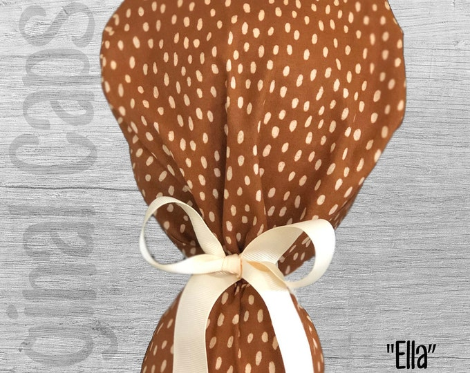 """Rust with Beige Dots Print Ponytail Scrub Cap for Women, Scrub Hat, Surgical Hat """"Ella"""", Surgical Caps"""