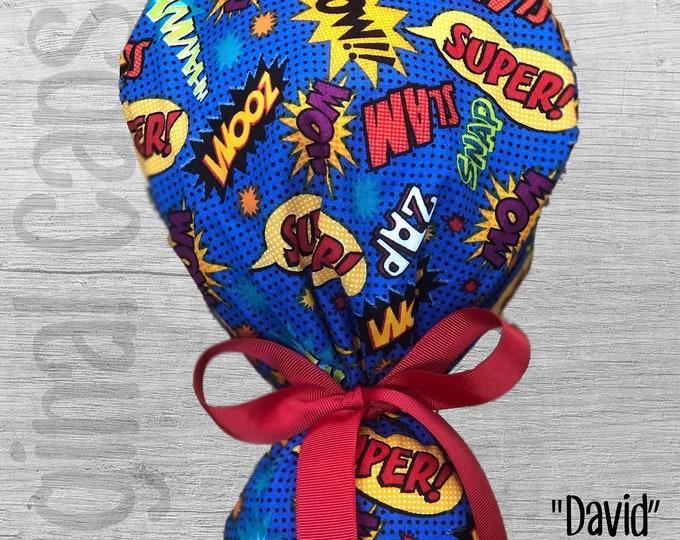 "Superhero Action Words Print Ponytail Scrub Cap for Women, Scrub Hat, Surgical Hat ""David"", Surgical Caps"