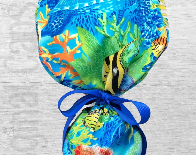 """Under the Sea Design Ponytail Scrub Cap for Women, Scrub Hat, Surgical Hat """"Layla"""", Surgical Caps"""