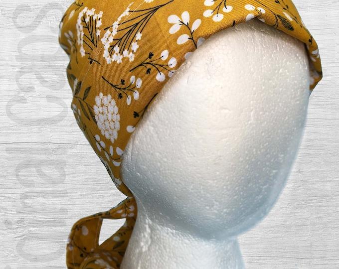 "White Flowers on Mustard Fabric Scrub Cap, Surgical Cap, Scrub Hat ""Hayley"""