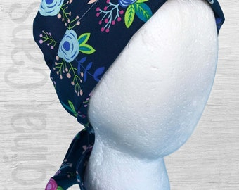 """Navy Background with Pink, Coral, and Blue Flowers Scrub Cap, Surgical Cap, Scrub Hat """"Hannah"""""""