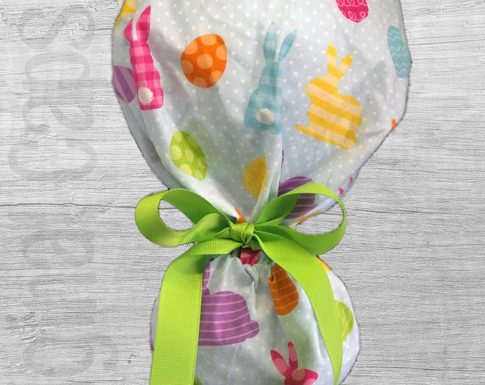 """Easter Bunny and Eggs Patchwork  Design Ponytail Scrub Cap for Women, Scrub Hat, Surgical Hat """"Easter 3"""""""
