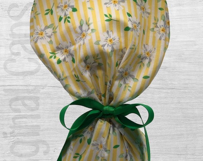 "Mini White Flowers on Yellow and White Stripe Design Ponytail Scrub Cap for Women, Scrub Hat, Surgical Hat ""Jennifer"", Surgical Caps"