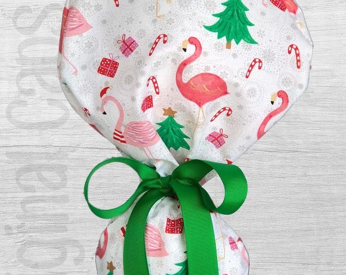 "Holiday Flamingo  Design Ponytail Scrub Cap for Women, Scrub Hat, Surgical Hat ""Merry 4"""