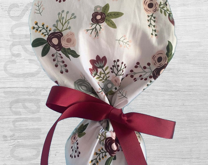 """Sweet Berry Floral on White Design Ponytail Scrub Cap for Women, Scrub Hat, Surgical Hat """"Emani"""", Surgical Caps"""