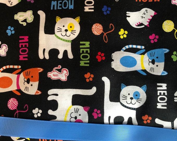 "Cats Meow Print Ponytail Scrub Cap, Ponytail Scrub Hat, Surgical Caps, Scrub Hats ""Maui"", Surgical Caps"