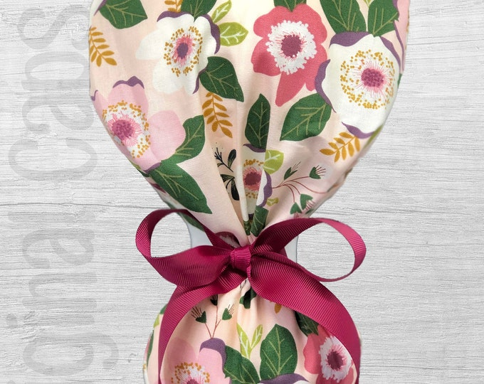 "Floral Design in Mauve, Olive, Lavender on Light Pink Background Ponytail Scrub Cap for Women, Scrub Hat, Surgical Caps ""Bonnie"""