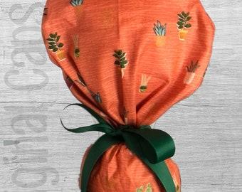 "Boho Mini Pots Print Ponytail Scrub Cap for Women, Scrub Hat, Surgical Hat ""Eleanor"", Surgical Caps"