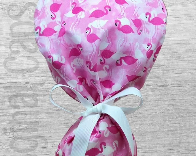 "Multi Pink Flamingo Print Ponytail Scrub Cap for Women, Scrub Hat, Surgical Hat ""Pinkie"", Surgical Caps"