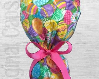 "Easter Egg  Design Ponytail Scrub Cap for Women, Scrub Hat, Surgical Hat ""Easter 1"""