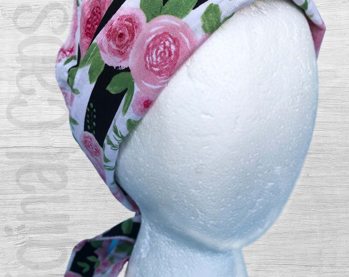 """Black and White Thick Stripe with Large Pink Flowers Print Scrub Cap, Surgical Cap, Scrub Hat """"Stella"""""""