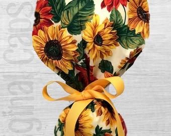"Multi Sunflower Design Ponytail Scrub Cap for Women, Scrub Hat, Surgical Hat ""Annika"", Surgical Caps"