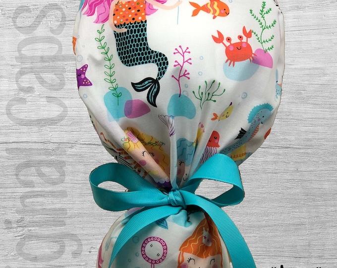 "Mermaid Print Ponytail Scrub Cap for Women, Scrub Hat, Surgical Hat, Scrub Cap ""Ayana"", Surgical Caps"