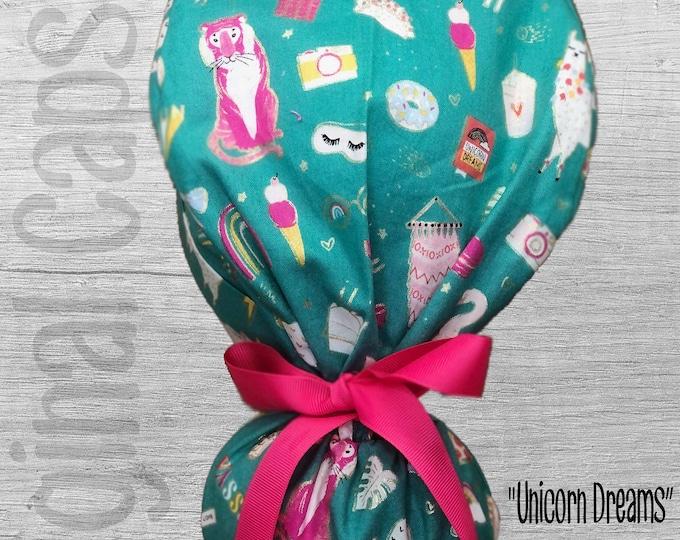 "Unicorns and Llama Print Ponytail Scrub Cap for Women, Scrub Hat, Surgical Hat ""Unicorn Dreams"", Surgical Caps"