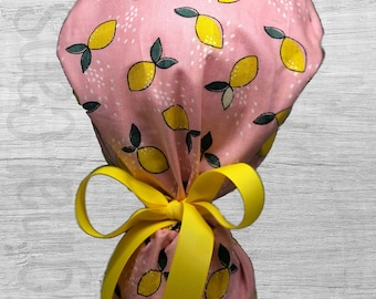 """Lemons on Creamy Pink Design Ponytail Scrub Cap for Women, Scrub Hat, Surgical Hat """"Nyla"""", Surgical Caps"""