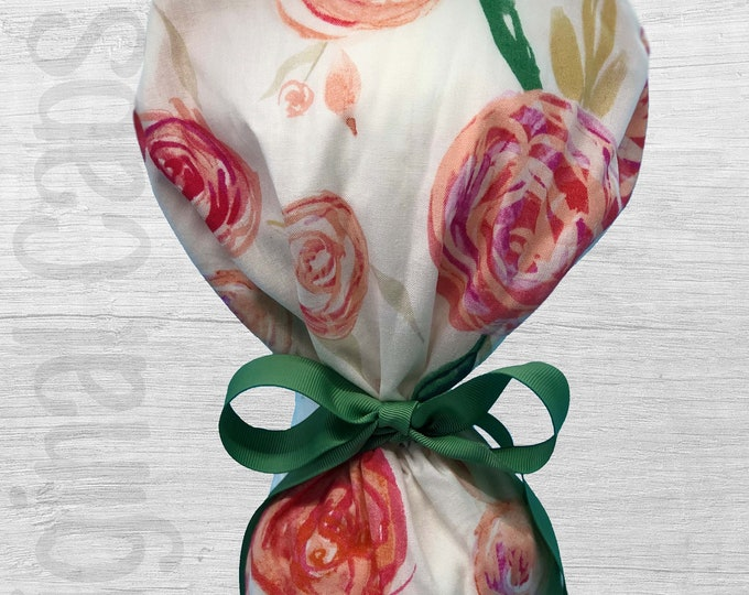 """Pink Rounded Roses Design Ponytail Scrub Cap for Women, Scrub Hat, Surgical Hat """"Peyton"""", Surgical Caps"""