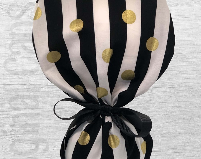 """Gold  Circles on Black and White Stripes Print Ponytail Scrub Cap for Women, Scrub Hat, Surgical Hat """"Tess"""", Surgical Caps"""