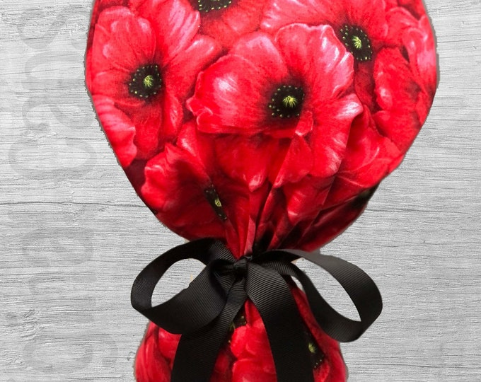 """Red Poppies Print Design Ponytail Scrub Cap for Women, Scrub Hat, Surgical Hat """"Serenity"""", Surgical Caps"""