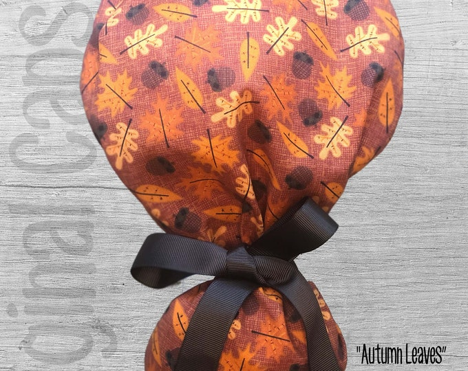 """Autumn/Fall  Ponytail Scrub Cap for Women, Scrub Hat, Surgical Hat """"Autumn Leaves"""", Surgical Caps"""