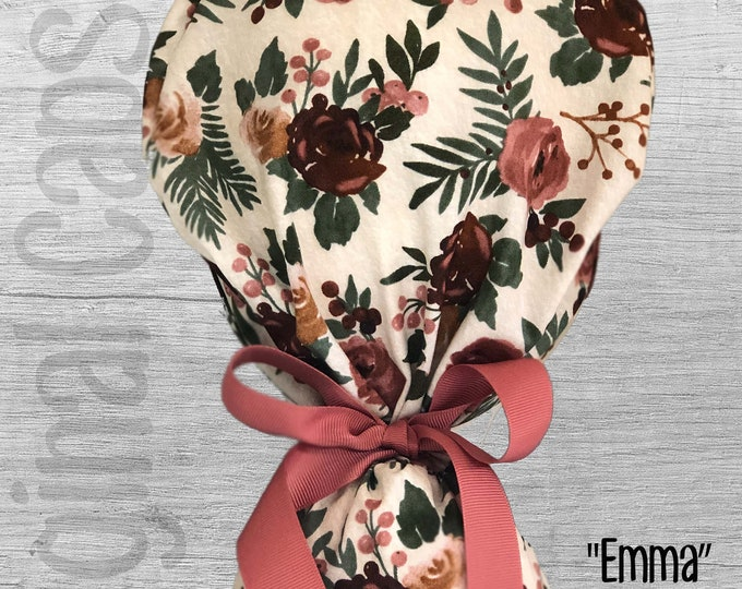 """Tan, Taupe and Mauve Floral Design Ponytail Scrub Cap for Women, Scrub Hat, Surgical Hat """"Emma"""""""