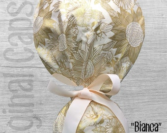 """Golden Sunflowers and Bees  Design Ponytail Scrub Cap for Women, Scrub Hat, Surgical Hat """"Bianca"""", Surgical caps"""