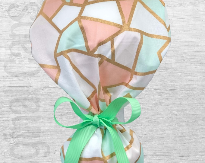 """Peach and Mint Stained Glass look Design Ponytail Scrub Cap for Women, Scrub Hat, Surgical Hat """"Lily"""", Surgical Caps"""