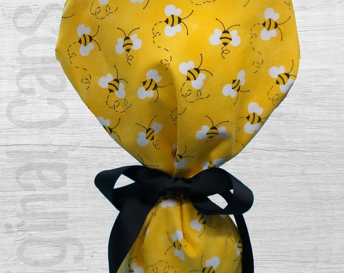 """Bumble Bee Design Ponytail Scrub Cap for Women, Scrub Hat, Surgical Hat """"Penny"""", Surgical Caps"""