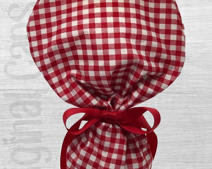 """Red and White Check Design Ponytail Scrub Cap for Women, Scrub Hat, Surgical Hat """"Jordan"""", Surgical Caps"""
