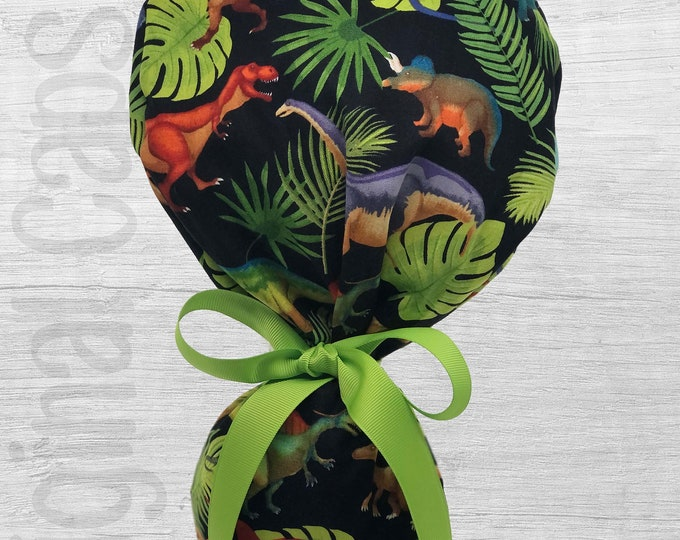 """Dinosaurs on Black Ponytail Scrub Cap for Women, Scrub Hat, Surgical Hat """"Summer"""", Surgical Caps"""