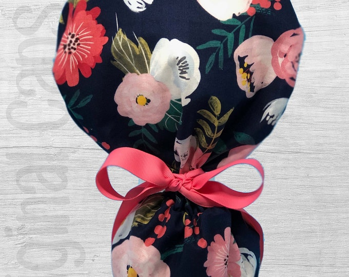 """Wispy Rose and Mum Floral Design Ponytail Scrub Cap for Women, Scrub Hat, Surgical Hat """"Madeline"""""""