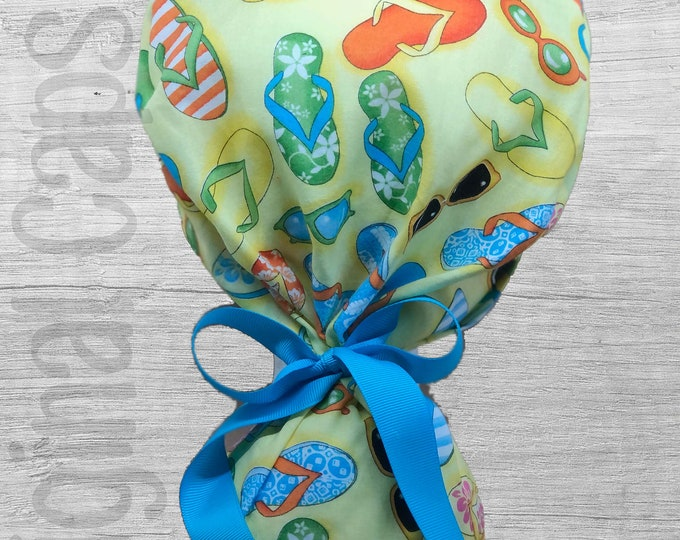 """Colorful Flip Flops Ponytail Scrub Cap for Women, Scrub Hat, Surgical Hat """"Piper"""", Surgical Caps"""