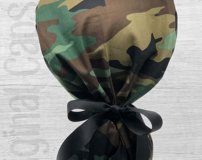"""Camouflage Design Ponytail Scrub Cap for Women, Scrub Hat, Surgical Hat """"Adriana"""", Surgical Caps"""