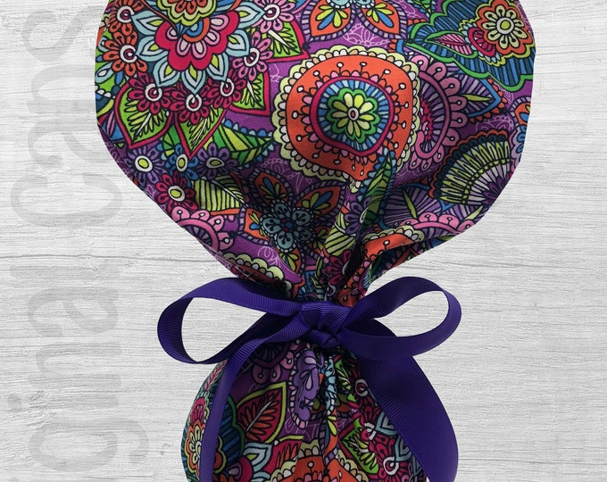 """Floral Doodle on Purple Background Ponytail Scrub Cap for Women, Scrub Hat, Surgical Hat """"Chelsea"""", Surgical Caps"""