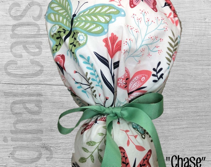 """Butterflies Print Ponytail Scrub Cap for Women, Scrub Hat, Surgical Hat """"Chase"""", Surgical Caps"""