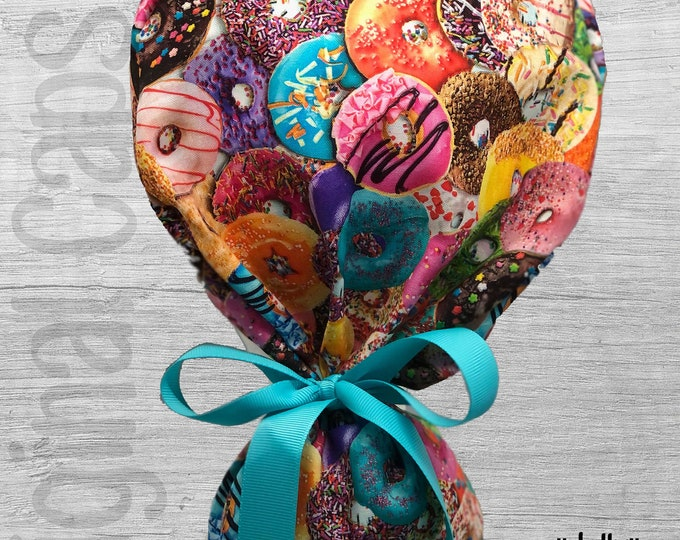 """Donut Print Ponytail Scrub Cap for Women, Scrub Hat, Surgical Hat """"Jelly"""", Surgical Caps"""