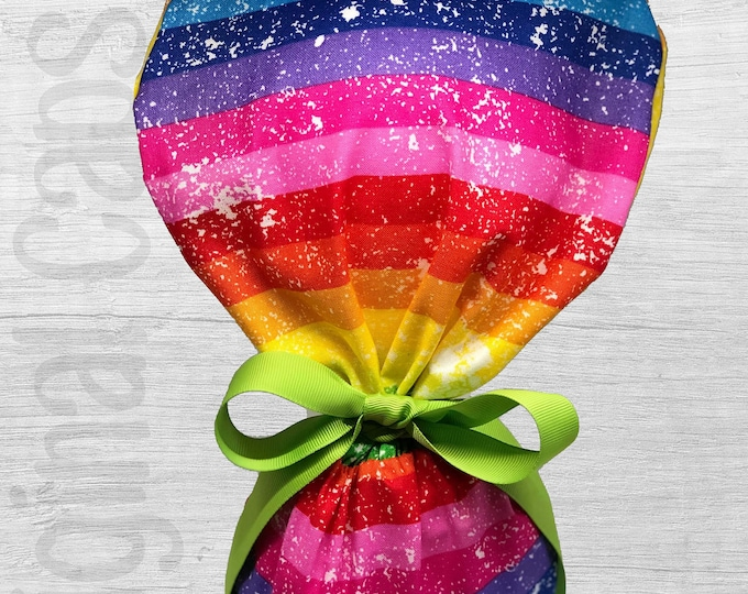 """Distressed Rainbow Print Scrub Cap for Women, Scrub Hat, Surgical Hat """"Britney"""", Surgical Caps"""